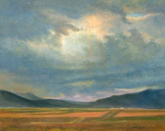 New Mexico Artwork, Southwest Art Print, Rio Grande Plateau Print, Landscape Art, Home Decor Wall Art, New Mexico Oil by P. Tarlow