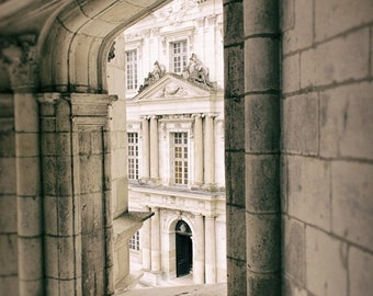 Architecture Photo, Castle Photograph, Digital Download, Window Photography, French Architecture, Stone Wall Photo, Instant Download