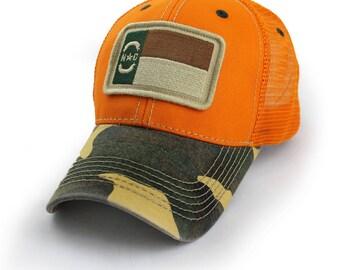 North Carolina Flag Trucker Hat, Structured, Blaze Orange
