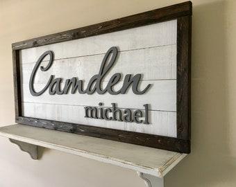 Custom name sign, Nursery name sign w/arrows, Rustic nursery decor, Large wood sign, Baby name sign, Nursery letters,  Boy nursery letters