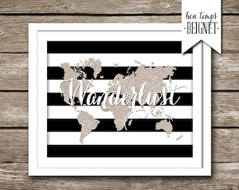 """Wanderlust - World Map - Faux Glitter and Stripes - 10x8"""" INSTANT DOWNLOAD - Printable world map, golden glitter map print, gold and stripes"""