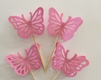 24 Pieces PINK Butterfly Cupcake Toppers, Birthdays, Party Decor, Weddings, Showers