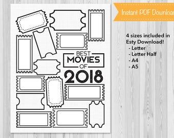 Movies, Bullet Journal 2018 Movies List, Planner Insert, BuJo, Printable, Instant Download