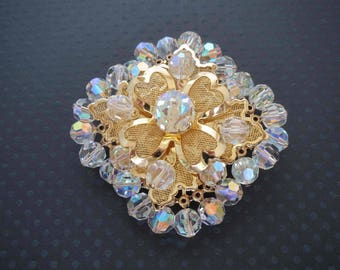Large Stacked Filigree Aurora Borealis Crystal Bead Brooch  - Juliana ?