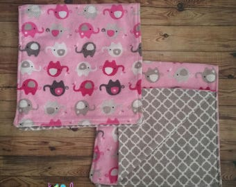 Pink and Grey Elephant Girl Burp Cloths