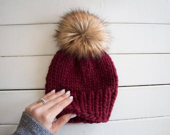 Faux Fur Pom Pom Toque Merino Wool Beanie mommy and me hats knit Pom pom toque Ponpon Fourrures Cabernet Red Beanie with fur pompom red to