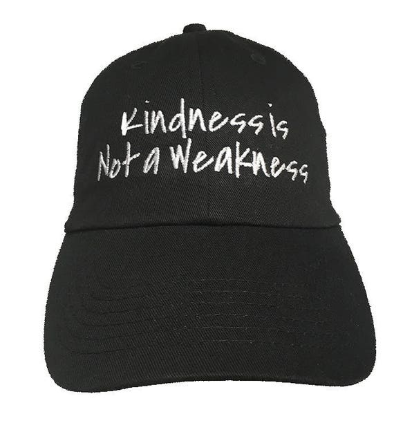 Kindness is Not a Weakness - Polo Style Ball Cap (Black with White Stitching)