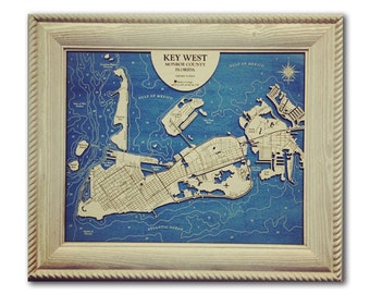 Key West Florida Dimensional Wood Carved Depth Contour Map - Customize With Your Home Information