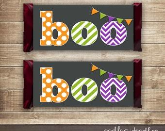 Halloween Candy Bar Wraps /  Halloween Party / Orange, Purple & Green Boo! Printable Hershey Bar Wrappers -  Printable