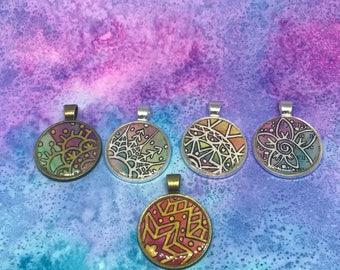 Watercolor zentangle pendant