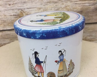 Vintage Henroit Quimper Faience Tin by Masailly, French Country Round Tin, Vintage French Tin