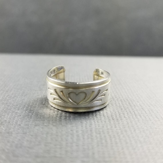 Wide Sterling Silver Toe Ring Heart and Flourish Modern Jewelry wide ring Boho Ring Minimalist Jewelry Body Jewelry, made in canada