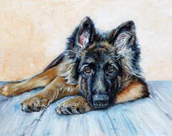 Custom Pet Portrait from Photo on Canvas, Digital File, Giclee Print or Painting, German Shepherd, Portraits by NC