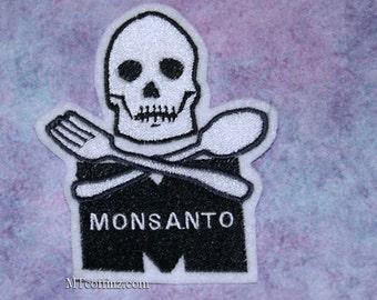 Monsanto Skull Crossbones Black White Iron On Embroidery Patch MTCoffinz