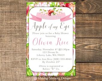 Apple Of My Eye Baby Shower Invitation