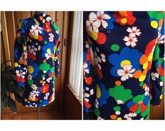 Swinging 60's psychedelic mini dress! Size S