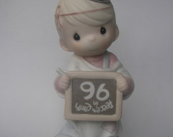 """Precious Moments """"Peace On Earth...Anyway"""" Porcelain Figurine - Enesco - Vintage Collectible - Angel - 1996 - Chalkboard - 183342"""