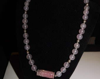 Rose quartz Asian style round bead necklace