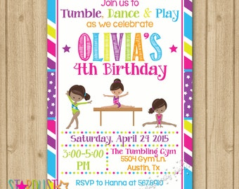 Gymnastics Birthday Invitation, Gymnastics Invitation, Tumbling Invitation, Gymnastics Party Invitation, Girl Gymnastics Invitation