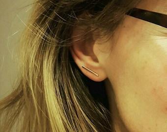 Gold Bar Earrings; Sterling Silver Bar Earrings; 14k gold filled earrings; Gold line earrings; Bar earrings; 14k gold filled square wire