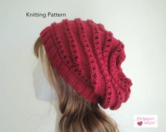 Knitting Pattern Slouch Hat with Ridges, Horizontal Lace, Knit Purl Eyelets, Beret Tam Slouchy Beanie, Easy Knit