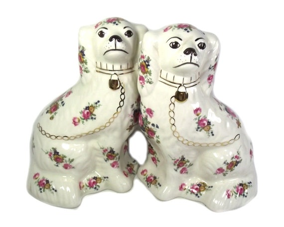 Pair of Vintage Wally Dogs with Roses