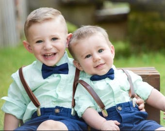 Boys Leather Suspenders and Navy Bow Tie, Baby Boy Bow Tie, Boys Suits, Rustic Wedding, Ring Bearer Outfit, Kid Suspender, Country Wedding
