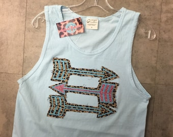Leopard and Glitter Applique Tank top