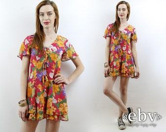 90s Floral Dress 90s Mini Dress Soft Grunge Dress 90s Dress Floral Babydoll Dress Summer Dress  Vintage 90s Red Floral Mini Dress XS S
