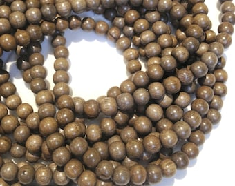 8mm Graywood Natural Wood Beads 16 inch Strand, 50 Beads Greywood Beads for Mala Necklaces