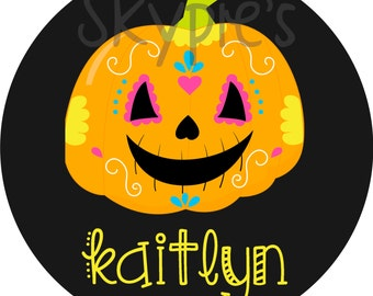 Iron on Transfer DIY - Childrens Customs Halloween Iron Ons - Personalized Name Iron on for Girls - Pumpkin