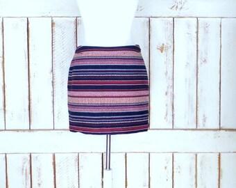 Vintage 90s woven cotton striped mini pencil skirt/short striped skirt/boho/hippie skirt/5/small