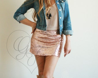 Rose Gold Sequin Mini Skirt - High Waist A-Line
