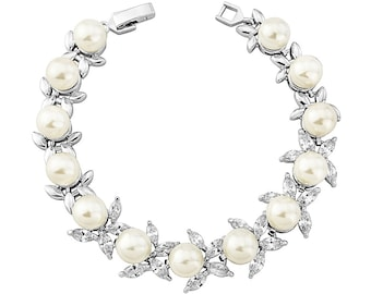 Bridal crystal & pearl bracelet.  Cubic zirconia and ivory pearl clasp jewelry. Stunning wedding accessory
