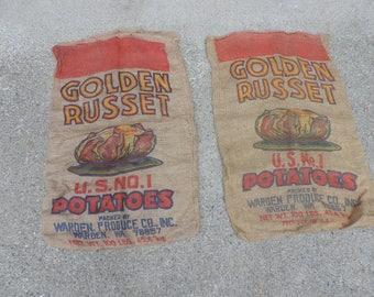 Vintage Burlap Potato Sack Pair of 2 Golden Russet 100 lb. Farm Bags Textile Rustic Decor