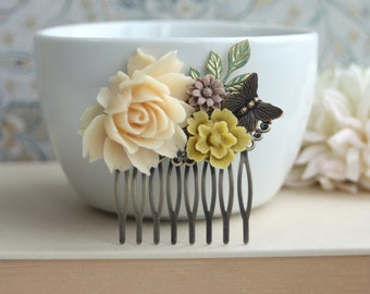 An Ivory Rose, Mustard, Butterfly, Patina Green Leaf Flower Collage Hair Comb. Gift For Wife. Bridal Wedding, Bridesmaids Hair Comb