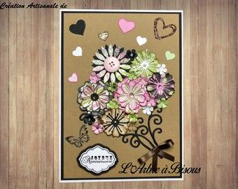 Large Flower Bouquet - elegant, A5 size birthday card