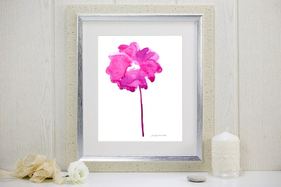 "Watercolor art print of a fuchsia abstract flower: ""Radiance"""