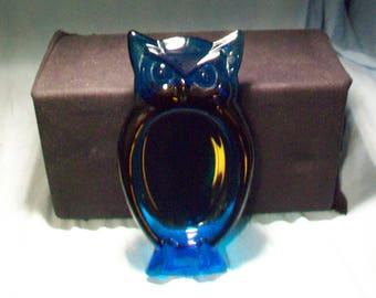 Viking Glass Owl Ashtray Bluenique