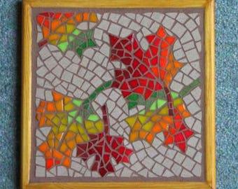 Autumn leaves mosaic trivet