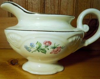 Homer Laughlin Springtime Creamer, K45N8, china creamer, made in USA, wild roses, forget me nots, cottage chic