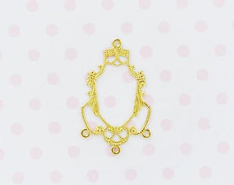 27mm Hime Kawaii Golden Chandelier Connector Charm Jewelry Findings - set of 10