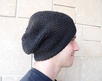 Slouchy Beanie Hat Oversized Baggy Beret Beanie Hand Knit Black Dark Grey Fall and Winter Accessories Chunky for Men and Women