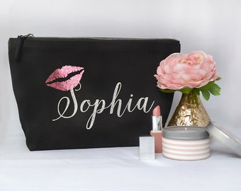 Bridesmaid Gift, Wedding Thank you gift, Personalised Bridesmaid Gift Make up bag, Bridal Party Cosmetic Make up Bag