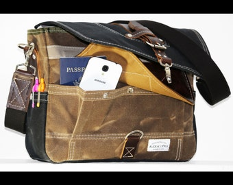 Waxed Canvas Messenger bag - handmade - FIELD TAN + BLACK + leather accents + military inspired 010042.1