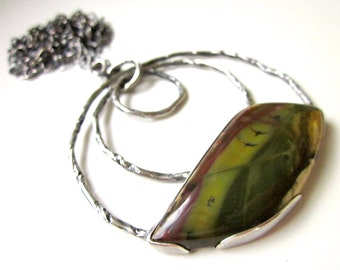 Becalmed - long organic freeform pea moss green morrisonite jasper stone, twisted root vine circles, sterling silver open bezel necklace