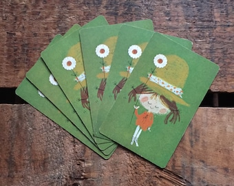 Vintage Kitsch Girl with Flower and Hat Playing Cards - Set of 6
