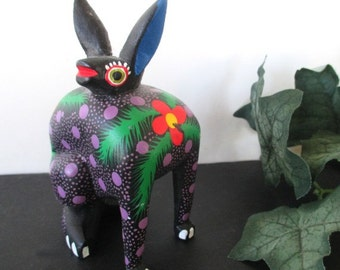 Stylized Rabbit Figurine - Mexico Folk Art -  Colorful Wood RABBIT - Hand Crafted Figurine -  SIGNED