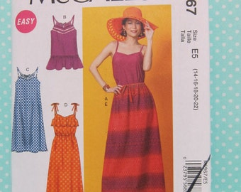 Cheapest Shipping.L-XL Summer Dress, Top or Skirt Pattern. McCall's 6967. Sz:14-22 Comfortable, Long or Short Casual Dress. New, Uncut.