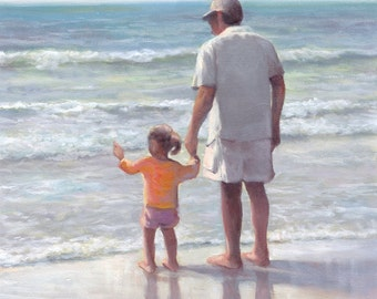 Original Watercolor Archival Print, Father and Daughter, Girl, Man, Beach, Childhood, Father's Day
